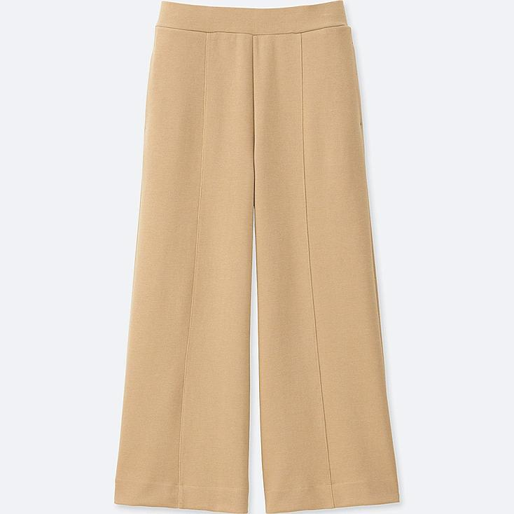 WOMEN MILANO RIBBED CUT SEWN ANKLE WIDE PANTS, BEIGE, large