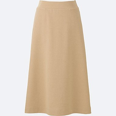 WOMEN MILANO RIBBED MIDI SKIRT, BEIGE, medium