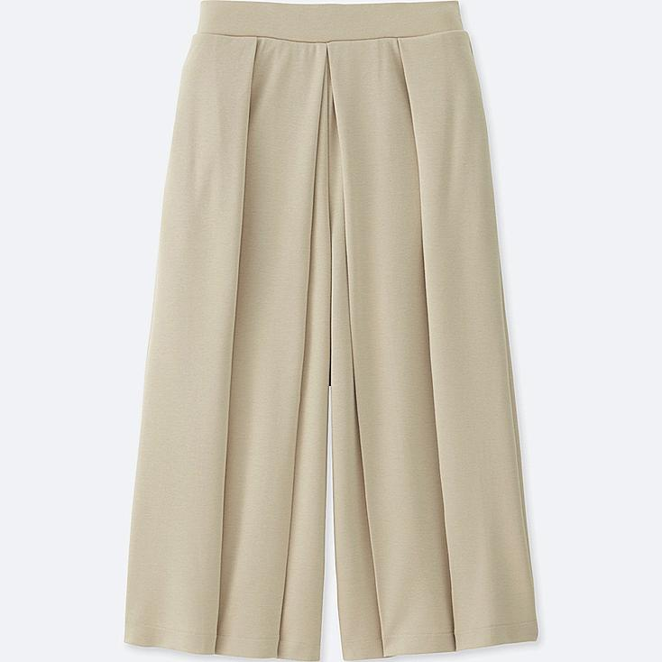 WOMEN JERSEY CROPPED FLARE WIDE PANTS, BEIGE, large