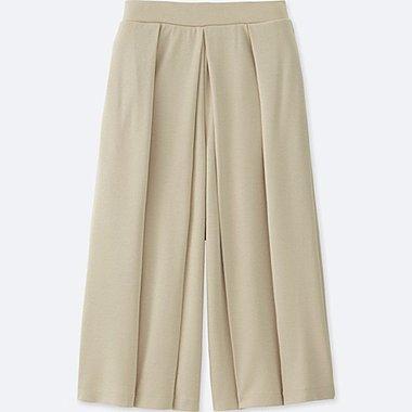 WOMEN JERSEY CROPPED FLARE WIDE PANTS, BEIGE, medium