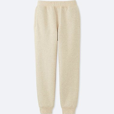 KIDS PILE-LINED SWEAT PANTS, BEIGE, medium