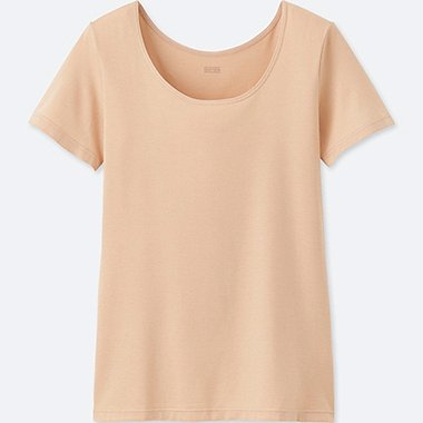 WOMEN HEATTECH SCOOP NECK T-SHIRT, BEIGE, medium