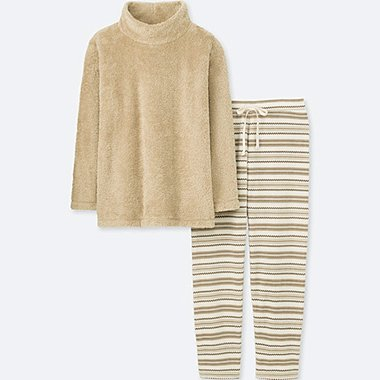 WOMEN LONG-SLEEVE NORDIC FLEECE SET, BEIGE, medium