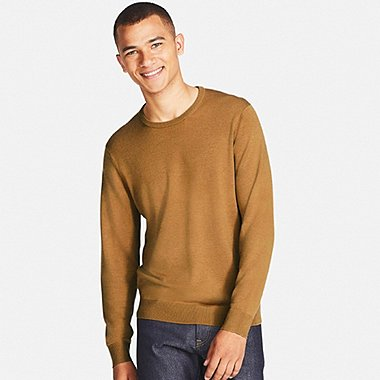 MEN EXTRA FINE MERINO CREWNECK SWEATER, BEIGE, medium