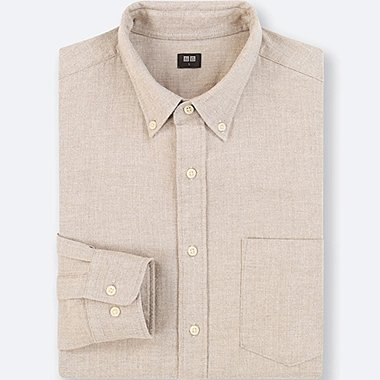 MEN FLANNEL LONG-SLEEVE SHIRT, BEIGE, medium