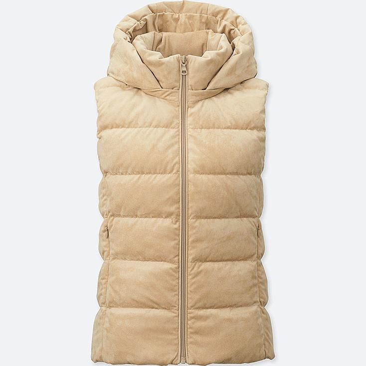 WOMEN STRETCH DOWN VEST, BEIGE, large