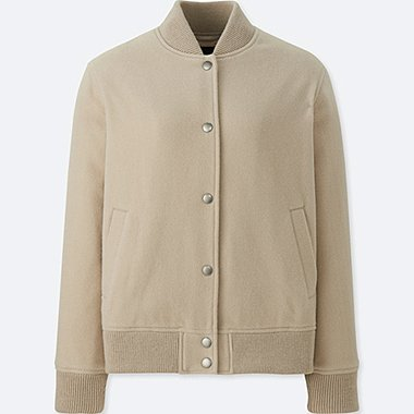 WOMEN WOOL BLEND BOMBER JACKET