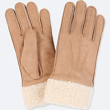 WOMEN FAUX MOUTON GLOVES, BEIGE, medium