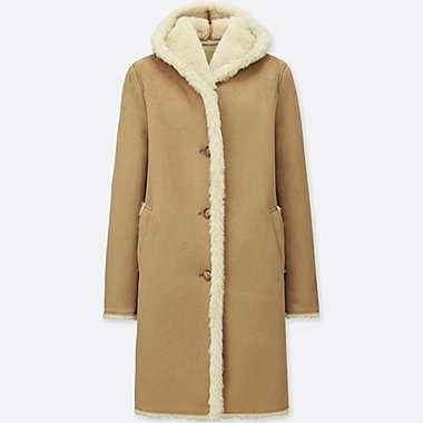 WOMEN FAUX SHEARLING HOODED COAT