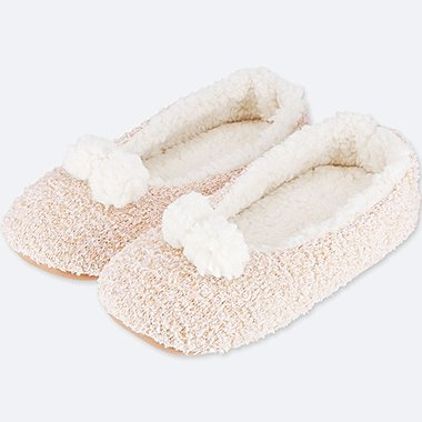 WOMEN FLUFFY FLEECE ROOM BALLET SHOES