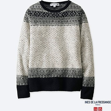 WOMEN JACQUARD CREW NECK SWEATER