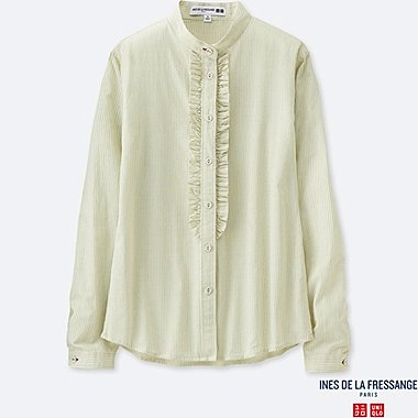 WOMEN IDLF COTTON LAWN FRILL STRIPED LONG-SLEEVE SHIRT, BEIGE, medium