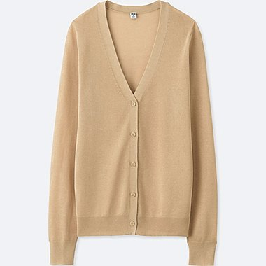 WOMEN LIGHT V-NECK CARDIGAN, BEIGE, medium