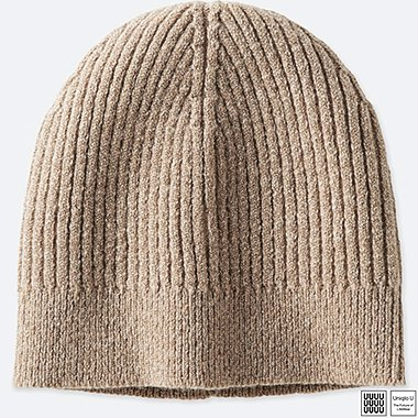 WOMEN U SHINY BEANIE, BEIGE, medium