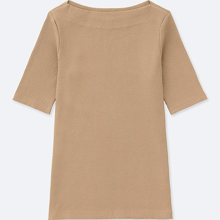 WOMEN RIBBED BOAT NECK HALF-SLEEVE T-SHIRT, BEIGE, large