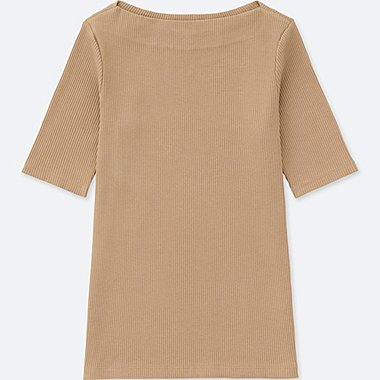 WOMEN RIBBED BOAT NECK HALF-SLEEVE T-SHIRT, BEIGE, medium