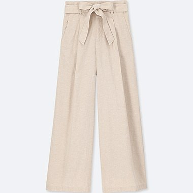 WOMEN Belted Linen Cotton Wide Trousers