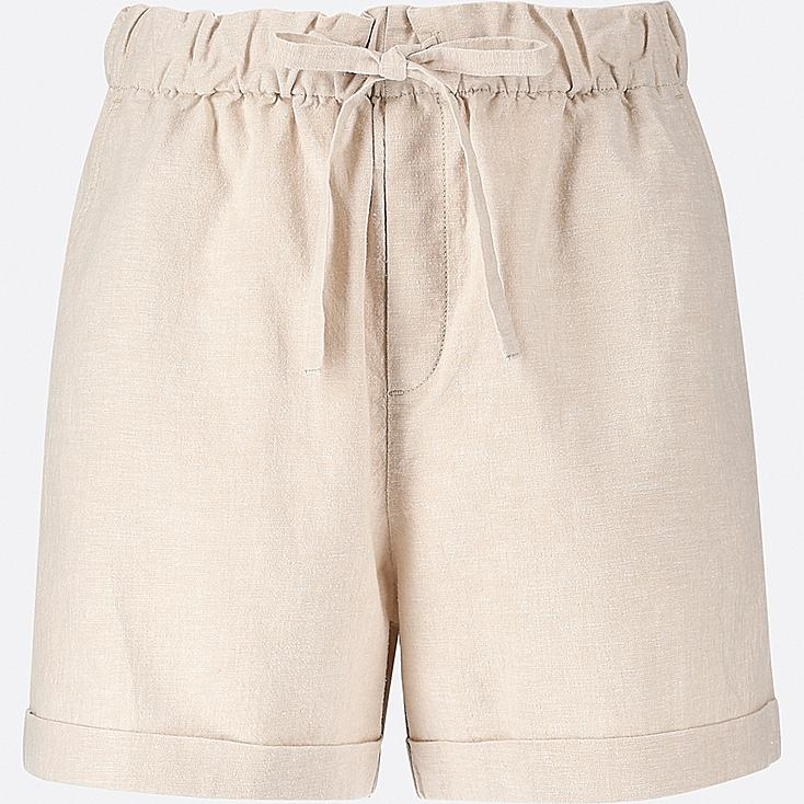 WOMEN COTTON LINEN RELAXED SHORTS, BEIGE, large