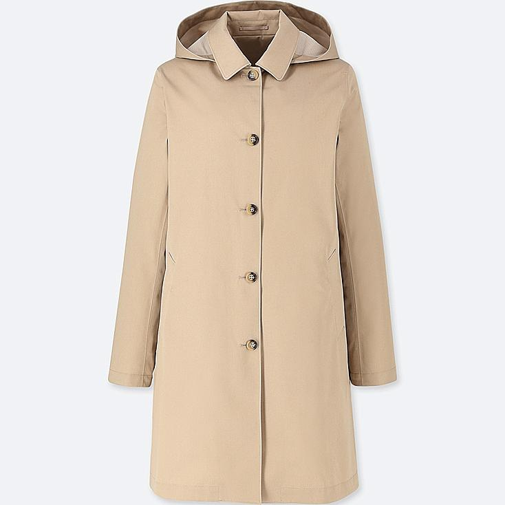 WOMEN BLOCKTECH SOUTIEN COLLAR COAT, BEIGE, large