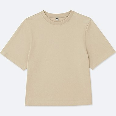 WOMEN CROPPED CREWNECK SHORT-SLEEVE T-SHIRT, BEIGE, medium