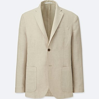 MEN LINEN COTTON SLIM-FIT JACKET, BEIGE, medium