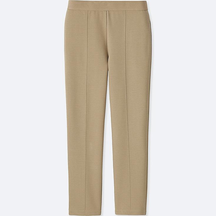 WOMEN PONTE SLIM PANTS, BEIGE, large