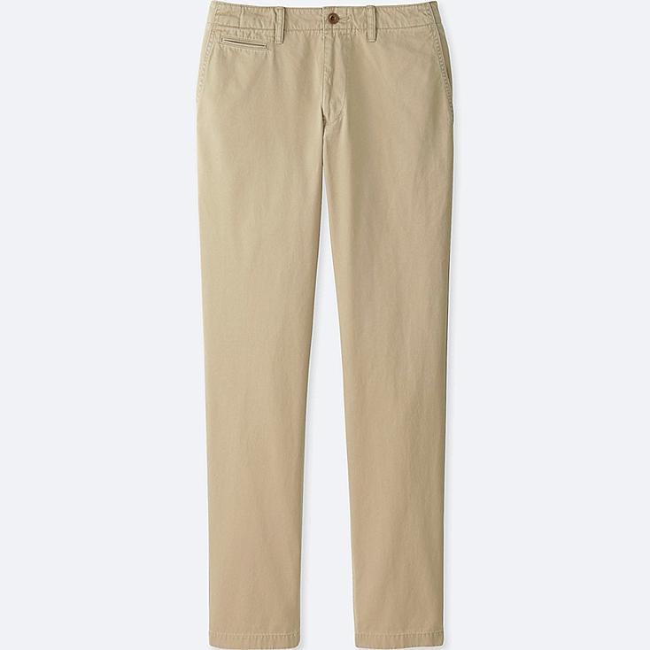 MEN VINTAGE REGULAR FIT CHINO FLAT-FRONT PANTS, BEIGE, large