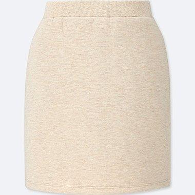 GIRLS PILE-LINED SWEAT SKIRT, BEIGE, medium