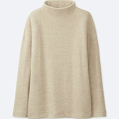 WOMEN SOFT KNITTED FLEECE HIGH-NECK LONG-SLEEVE T-SHIRT, BEIGE, medium