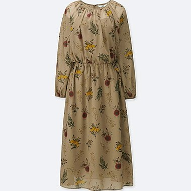 WOMEN CHIFFON PRINTED LONG-SLEEVE DRESS, BEIGE, medium