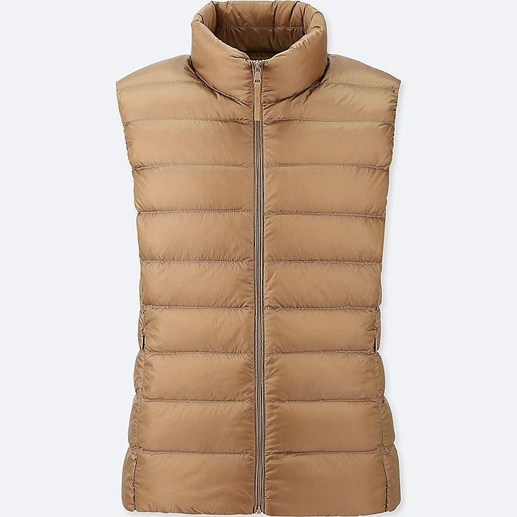 WOMEN ULTRA LIGHT DOWN VEST, BEIGE, large