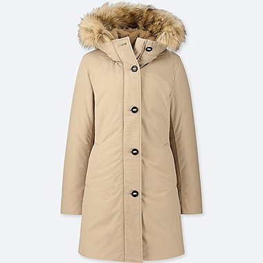 WOMEN ULTRA WARM DOWN SHORT COAT, BEIGE, medium