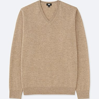 MEN CASHMERE V-NECK LONG-SLEEVE SWEATER, BEIGE, medium