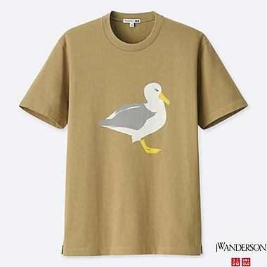 J.W.ANDERSON 100% COTTON SHORT SLEEVE GRAPHIC SEAGULL T-SHIRT