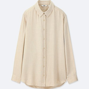 WOMEN RAYON LONG-SLEEVE BLOUSE, BEIGE, medium