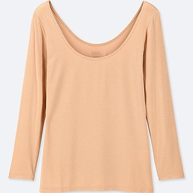 WOMEN HEATTECH BALLET NECK LONG-SLEEVE T-SHIRT, BEIGE, medium