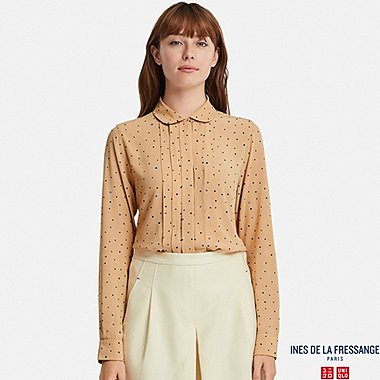 WOMEN INES GEORGETTE TUCK LONG SLEEVE BLOUSE