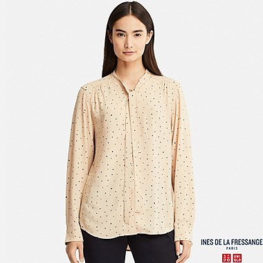WOMEN INES GEORGETTE TIE LONG SLEEVE BLOUSE