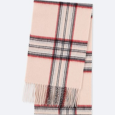 CASHMERE CHECKED FRINGED SCARF