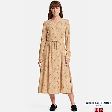WOMEN GEORGETTE WRAP LONG-SLEEVE DRESS (INES DE LA FRESSANGE), BEIGE, medium