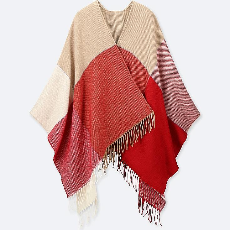 COLOR BLOCK 2-WAY STOLE, BEIGE, large