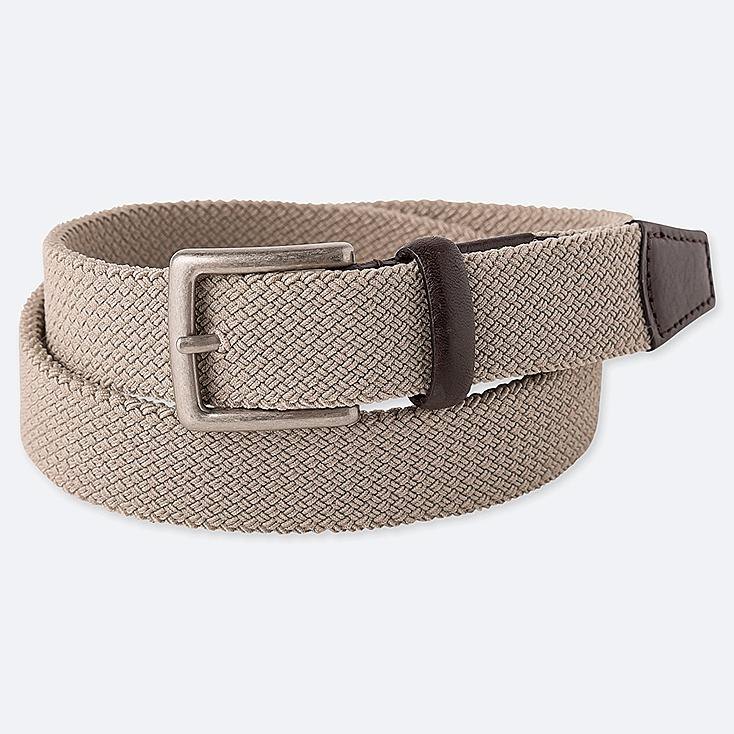 MEN STRETCH MESH BELT, BEIGE, large