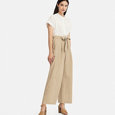 WOMEN LINEN BLEND WIDE LEG BELTED TROUSERS