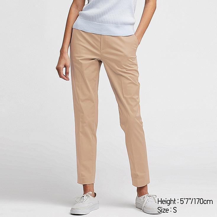 WOMEN EZY SATIN ANKLE-LENGTH PANTS, BEIGE, large