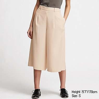 WOMEN DRAPE WIDE CROPPED PANTS (ONLINE EXCLUSIVE), BEIGE, medium