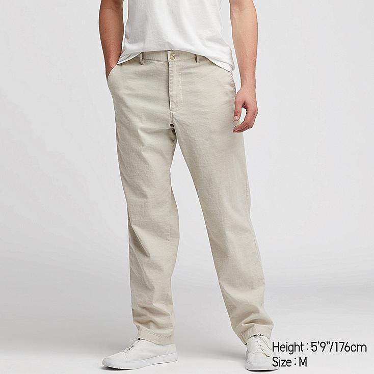 MEN COTTON LINEN RELAXED PANTS, BEIGE, large