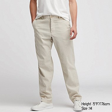 MEN LINEN BLEND RELAXED FIT TROUSERS