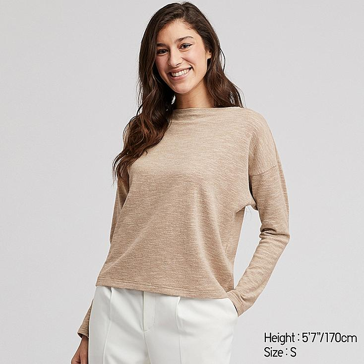WOMEN STRETCH SLUB JERSEY BOAT NECK LONG-SLEEVE T-SHIRT, BEIGE, large