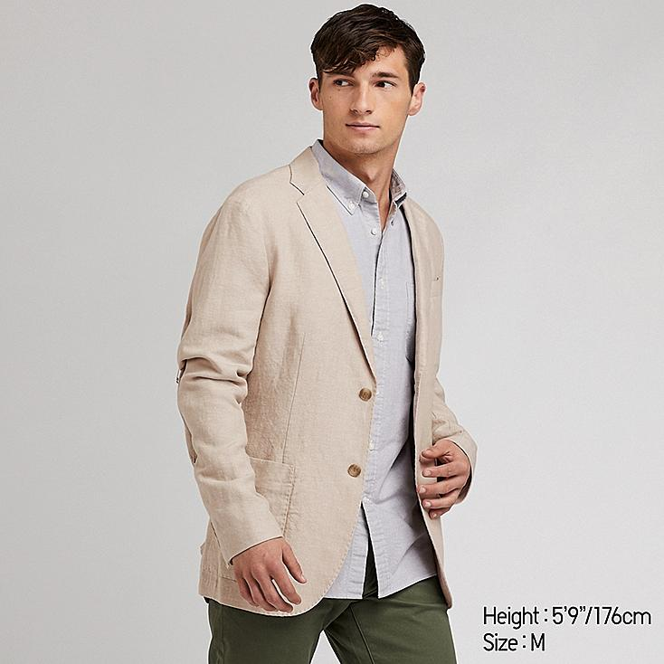 MEN LINEN COTTON SLIM-FIT JACKET, BEIGE, large