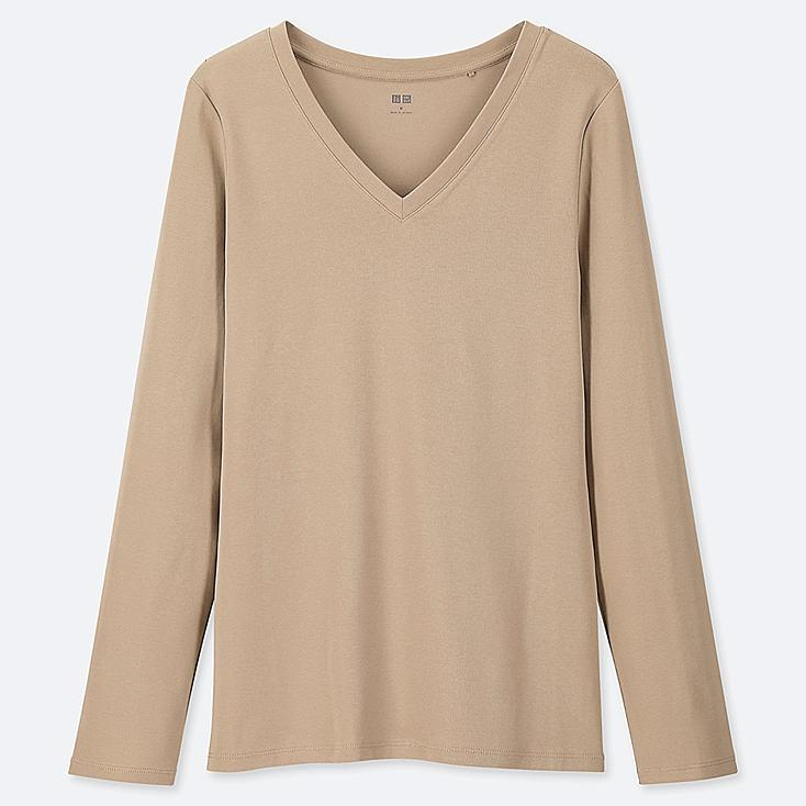 WOMEN 1*1 RIBBED COTTON V-NECK LONG-SLEEVE T-SHIRT, BEIGE, large